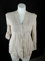 Spence Petite Blouse Beige Womens Size Petite Medium Top Shirt Button Front