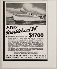 """1940 Print Ad Marblehead """"26"""" Cabin Cruiser Boats Built in Maine"""