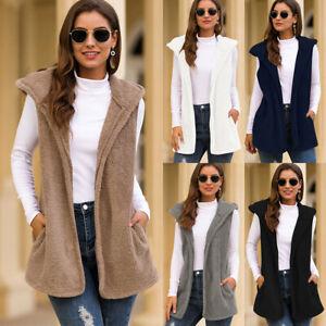 Womens Ladies Fleece Fur Body Warmer Vest Waistcoat Gilet Winter Sleeveless Coat