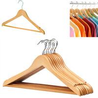 20 Wooden Hangers Coat Suit Clothe Trouser Bar Garments Hanger Shoulder Notches