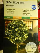 LED Lichterkette 200 LEDs - warmweiß - Innen und Außen weiß Kabel grün 20m