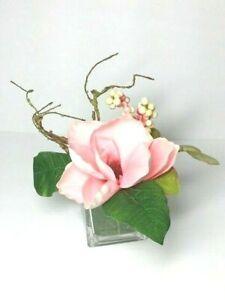 "Pink Magnolia Glass Cube Artificial Arrangement 4"" x 6"" New"