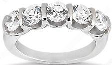"14k Gold Ring 5 x 0.35 ct 1.75 carat Round Diamond Anniversary Band ""U"" Shape"