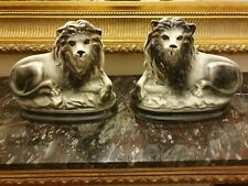 More details for pair  of english antique staffordshire lion figures