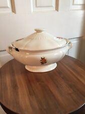 Vintage Ceramic Soup Tureen White W/Yellow Roses