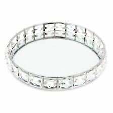 More details for round silver mirrored display  tray | diamante decorative vanity tray 21cm