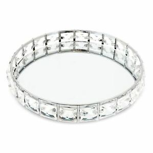 Round Silver Mirrored Display  Tray   Diamante Decorative Vanity Tray 21cm