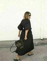 NWOT ZARA BLACK ASYMMETRIC POPLIN DRESS PUFF SLEEVES  Size S $69 #2405 RE:2674