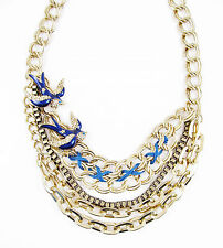 NWT BETSEY JOHNSON In The Navy Nautical Pave Blue Bird  Layered Necklace $68