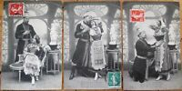 Russia/Russian Couple 1908 SET OF THREE French Fantasy Postcards, 'Idylle Russe'