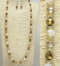 Gold and Topaz Long Beaded FASHION Necklace Set