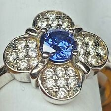 PROMOTIONAL AUCTION 925 STERLING SILVER 1CT SIMULATED BLUE DIAMOND RING SIZE 5.5