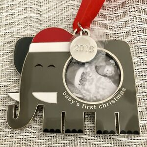 CRATE & BARREL 2018 Baby's First Christmas Elephant Frame Ornament - NWT