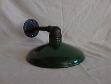 "Vintage Barn Light Industrial Look yard sign gas station metal shade 10"" GRN ORB"