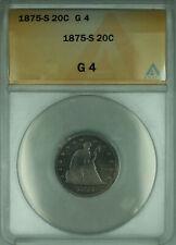1875-S Twenty Cent Piece 20c Silver Coin ANACS G-4 Good