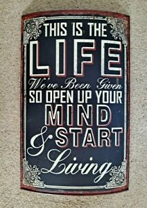 """Large Metal Wall Art Sign """"This Is The Life """" Quote"""