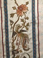 Antique Chinese Embroidered Silk Panel Floral Peacock Peking Knot