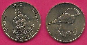 VANUATU 2 VATU 1990 UNC LONG GOD YUMI STANAP,SHELL AND VALUE