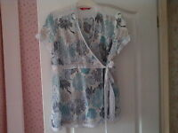 TESCO WHITE BLUE NAVY AND GREEN CROSSOVER BLOUSE SIZE 16 EXCEL CONDITION