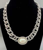 Vintage Signed Monet Chunky Silver Link Necklace Toggle Clasp Faux Pearl Runway