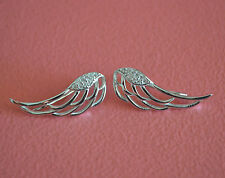 925 Sterling Silver CZ Angel Wings No Piercing Earring Clip On Ear Cuff