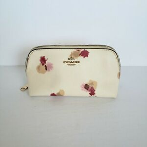 Coach 65349 Cosmetic Case Floral Leather White Cream Puch Small Bag Logo Zipper