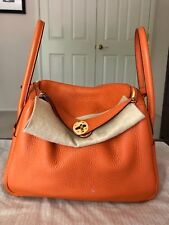 100% Authentic Hermes Lindy 26 Clemence Leather Orange