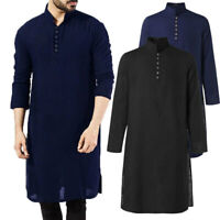 Mens Kurta Shirt Long Sleeve Grandad Neck Summer Button T Shirt Short Kaftan UK