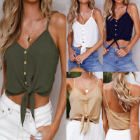 Womens Sexy Sleeveless Blouse Short Vest Summer Chiffon Crop Tank Tops T Shirt