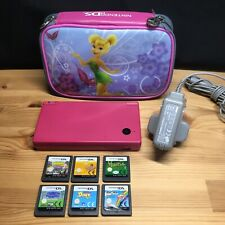 Nintendo DSi  Pink Handheld System + 6 games, Mains Charger and Tinkerbell Case