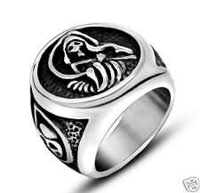 【Ship from USA】Sons of Anarchy Rocker Biker 316L Stainless Steel Ring Size 12