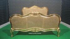 BESPOKE Sophisticated Gold LEAF RATTAN french furniture designer baroque bed