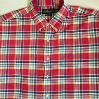 Ralph Lauren Mens Custom Fit Red Blue Multicolor Plaid Check L/S Shirt Size XXL