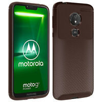 Motorola Moto G7 Power Soft Protection Case Carbon Effect Matt Brown