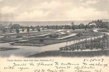 Paterson New Jersey~West Side Park~Flower Gardens Panorama~1907 B&W Postcard