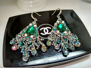 Vintage Fashion Chic Earrings Ear Studs Green Gem with Clear Crystal