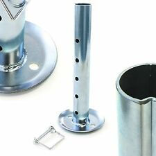 """Trailer Jack Stand Drop Leg Insert Camper Extra Height 2"""" Tall Foot Pad with Pin"""
