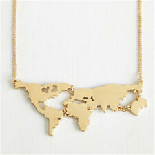 NEW World Map Travel Boutique Pendant Necklace Bib Collar Gold Plated Chain