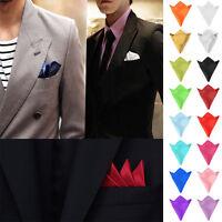Men Hanky Silk Satin Plain Pocket Square Hankerchief Party Tie  For Wedding Suit