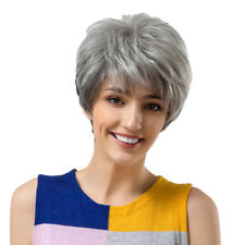 Women Chic Wigs Short Pixie Cut 70% Real Human Hair Natural Looking Wig