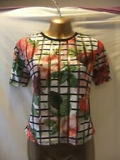 LADIES Atmosphere 6 BLACK STRETCH/GRAPHICFLORAL SHEEN FRONT/SHORT SLEEVE TOP