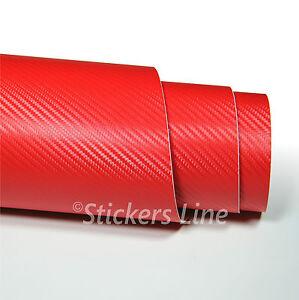 Pellicola adesiva carbonio ROSSO 3D cm 75x100 car wrapping auto moto carbon red