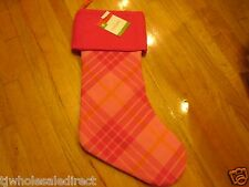 NEW ! Christmas Plaid Stockings Holiday Decorations Pink Stocking