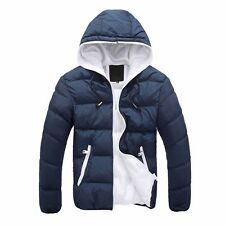 Men's Winter Casual Hooded Thick Padded Jacket Slim Outwear Coat Warm Vogue CA