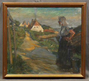 """'Woman Stranding by a Road"""" Oil Painting attributed to Ferdinand Dorsch (GERMAN)"""
