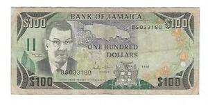 Jamaica - 1987, One Hundred (100) Dollars