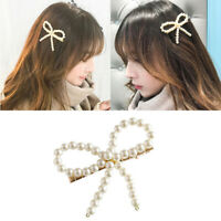 Women Girls Pearl Bow knot Hair Clip Snap Hair Barrette Stick Hairpin Hair N Tw