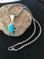 Navajo Pearls Sterling Silver Kingman Turquoise Necklace Pendant 1352