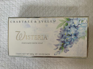 Crabtree & Evelyn Wisteria bath soap Brand New box Set Of 3 Retired