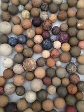 Vintage Antique Assorted Primitive Clay and Ceramic Marbles Set of 4 Estate